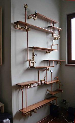 self made steampunk shelf as a house decor