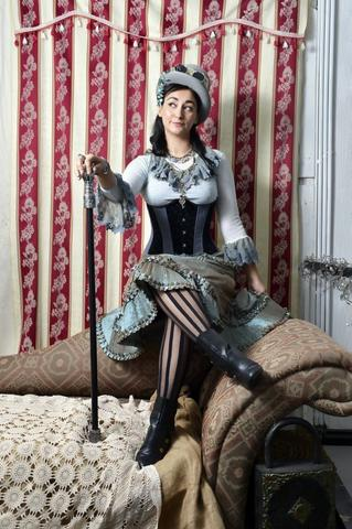 Eva Vivacia models a steampunk look from The Dark Magician on Bell Street