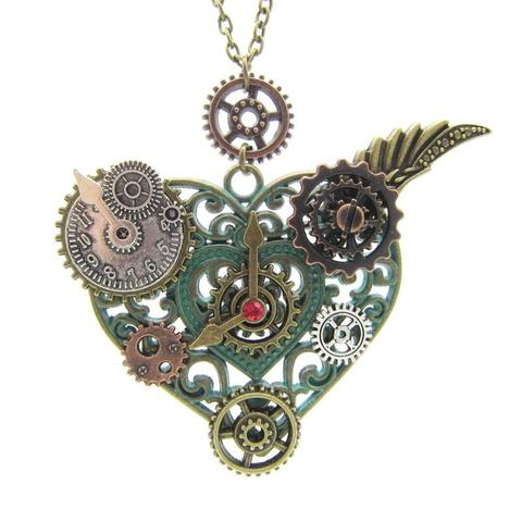 Heart Pendant With Gears Steampunk Necklace