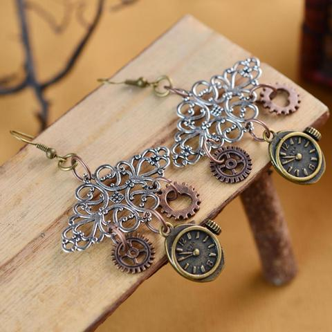 Steampunk Clock With Gears Earrings
