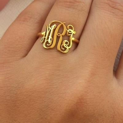 Steampunk Monogram Initials Ring