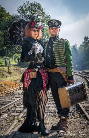 fashionable steampunk couple lady and a captain