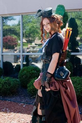 steampunk archer women look from a steampunk convention