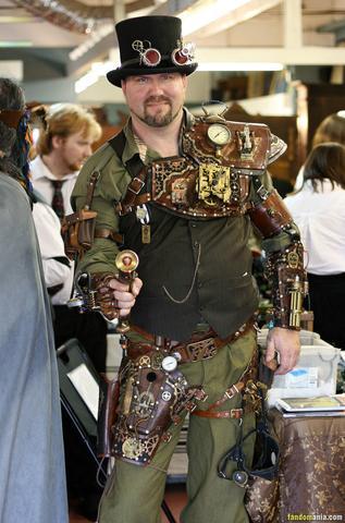 mens steampunk fashion. a man with a steampunk costume and a gun.