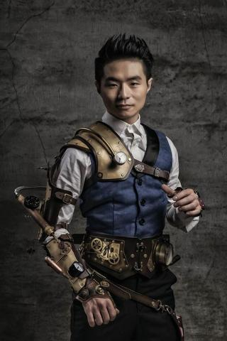 outfit for men, steampunk style clothing with mechanical arm