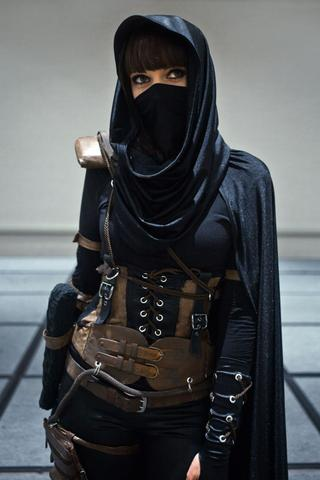 female steampunk assassin costume with steampunk vest