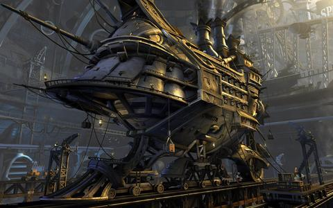 steampunk digital art train that is armored and armed