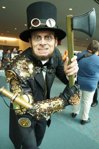 steampunk Abraham Lincoln cosplay costume steampunk goggles and axe