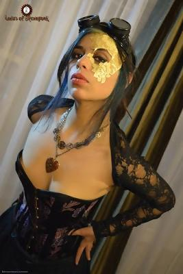 steampunk makeup girl with goggles and necklace