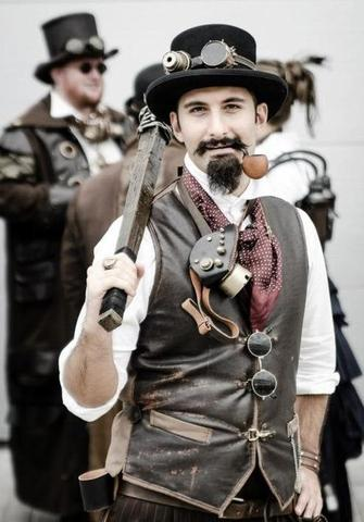 steampunk outfit with sunglasses, hat, a club, goggles and a leather vest