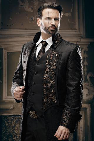 steampunk mens outfit with a decorated vest, neck tie, belt and cuff-links