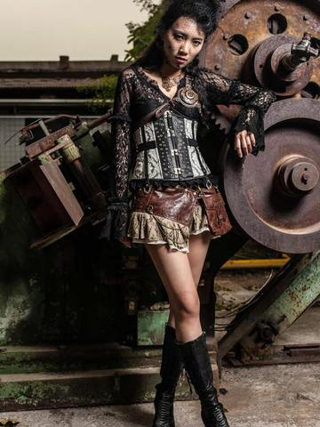 steampunk outfit for women with mini skirt corset and steampunk accessories