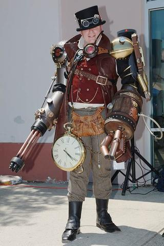 steampunk warrior with giant pocket watch