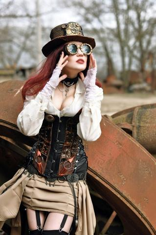 steampunk women outfit with corset, goggles, hat, rings, skirt, choker, white shirt and red hair